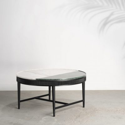 kam ce kam, marble and timber coffee table, reeded timber, marble, green marble, white marble