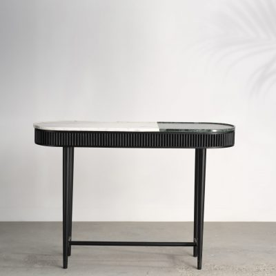 kam ce kam, marble and timber console, reeded timber, marble