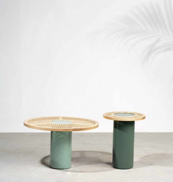 kam ce kam, chaand, side table, coffee table, cane table, lacquered, solid ash, round table, chaand