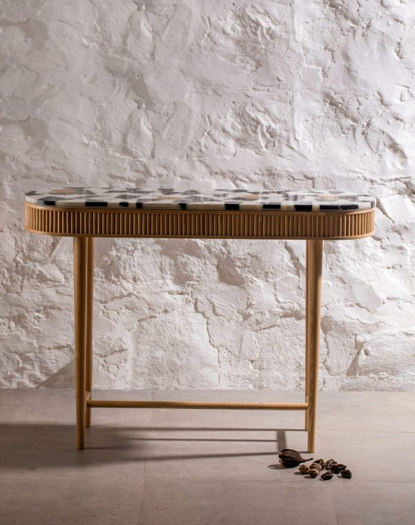 kam ce kam, marble, marble off-cuts, terrazzo, sustainable, ash, reeded timber, solid timber, console